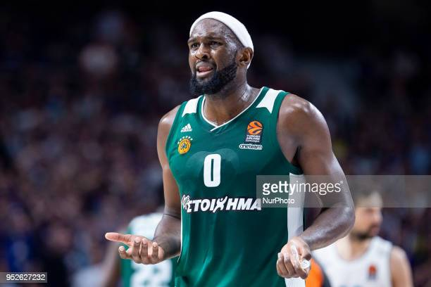 Chris Singleton of Panathinaikos Superfoods Athens in action during the Turkish Airlines Euroleague Play Offs Game 4 between Real Madrid v...