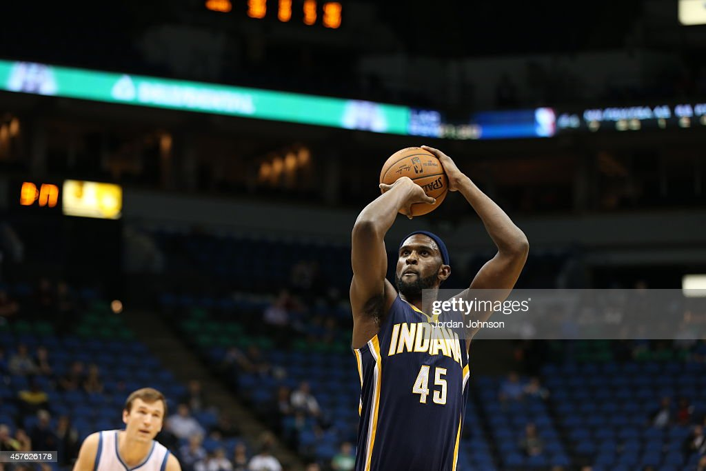 Chris Singleton #45 of the Indiana Pacers prepares to shoot a free throw against the Minnesota Timberwolves on October 21, 2014 at Target Center in Minneapolis, Minnesota.