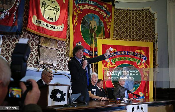 Chris Skidmore national secretary of the NUM speaks during a media conference at the National Union of Mine Workers in Barnsley northern England on...