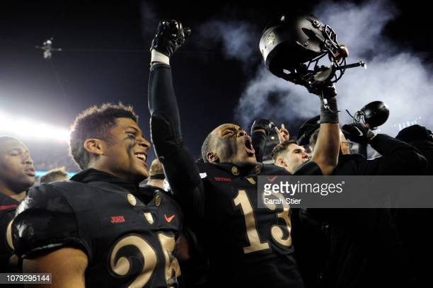 Chris Skyers of the Army Black Knights celebrates after Army defeated Navy Midshipmen 17-10 at Lincoln Financial Field on December 08, 2018 in...