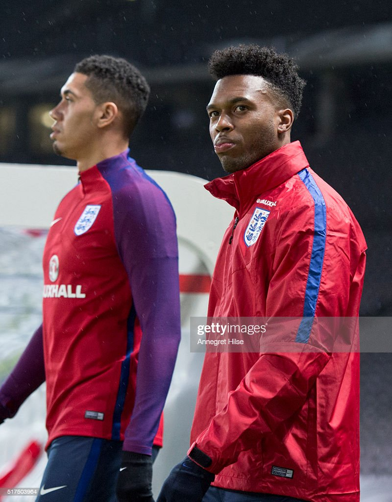 Chris Smalling and Daniel Sturridge arrive for England training session at Olympic Stadium on March 25, 2016 in Berlin, Germany.