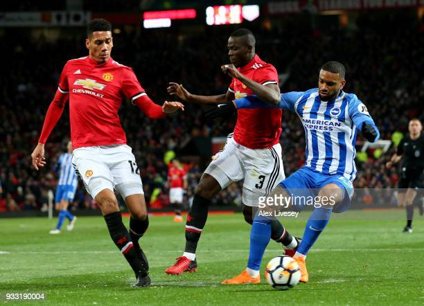 Chris Smalling and Eric Bailly of Manchester United challenging Jurgen Locadia of Brighton during the Emirates FA Cup Quarter Final between...