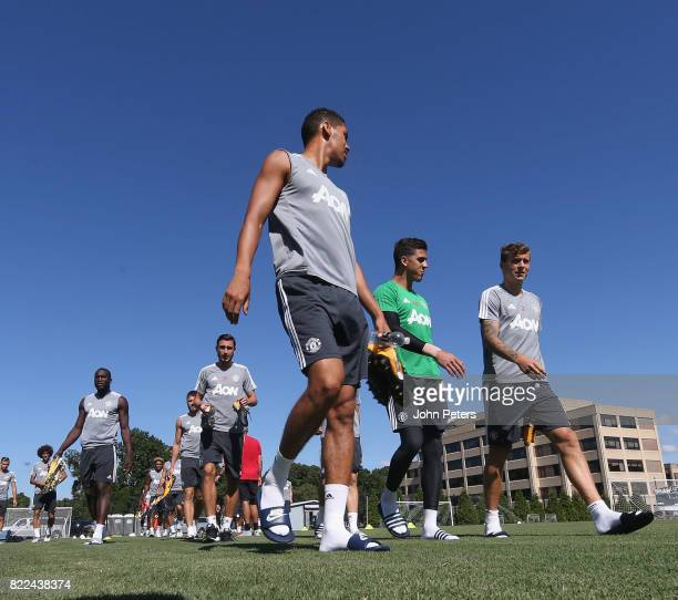 Chris Smalling Joel Pereira and Victor Lindelof of Manchester United in action during a first team training session as part of their preseason tour...