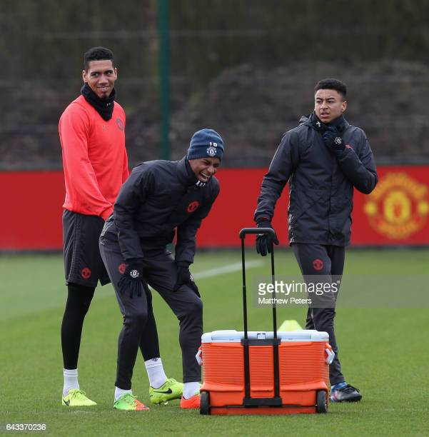 Chris Smalling Marcus Rashford and Jesse Lingard of Manchester United in action during a first team training session at Aon Training Complex on...