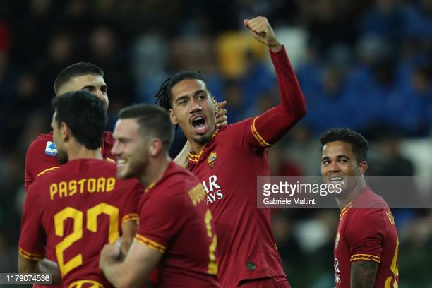 Chris Smalling of AS Roma celebrates after scoring a goal during the Serie A match between Udinese Calcio and AS Roma at Stadio Friuli on October 30...