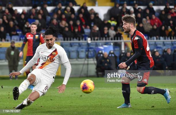 Chris Smalling of AS Roma defends the ball during the Serie A match between Genoa CFC and AS Roma at Stadio Luigi Ferraris on January 19 2020 in...