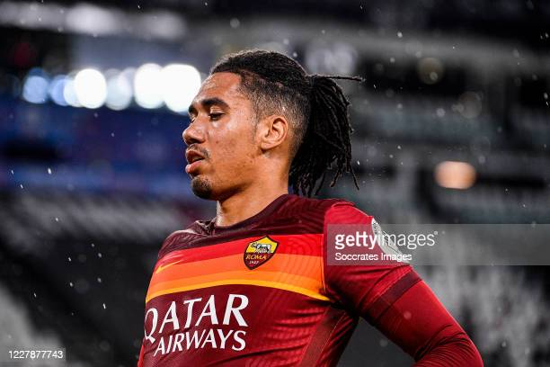Chris Smalling of AS Roma during the Italian Serie A match between Juventus v AS Roma at the Allianz Stadium on August 1, 2020 in Turin Italy