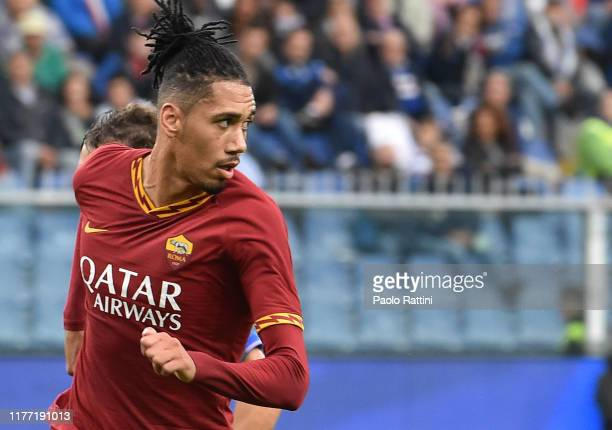 Chris Smalling of AS Roma during the Serie A match between UC Sampdoria and AS Roma at Stadio Luigi Ferraris on October 20, 2019 in Genoa, Italy.