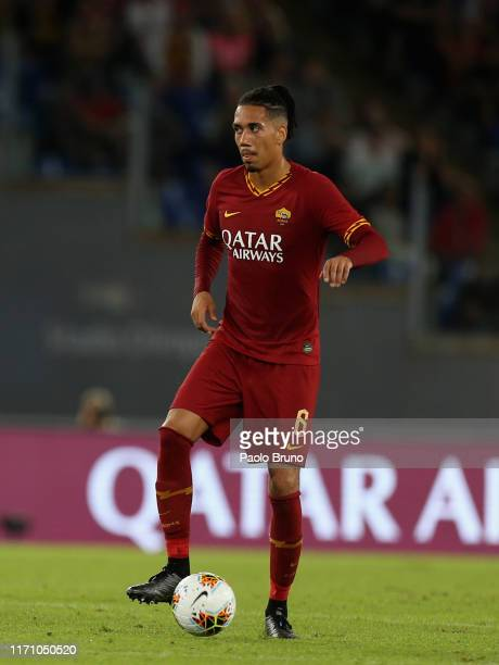 Chris Smalling of AS Roma in action during the Serie A match between AS Roma and Atalanta BC at Stadio Olimpico on September 25, 2019 in Rome, Italy.
