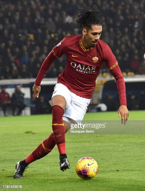 Chris Smalling of AS Roma in action during the Serie A match between Parma Calcio and AS Roma at Stadio Ennio Tardini on November 10, 2019 in Parma,...