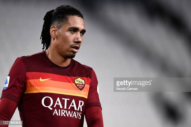 Chris Smalling of AS Roma looks on during the Serie A football match between Juventus FC and AS Roma. AS Roma won 3-1 over Juventus FC.