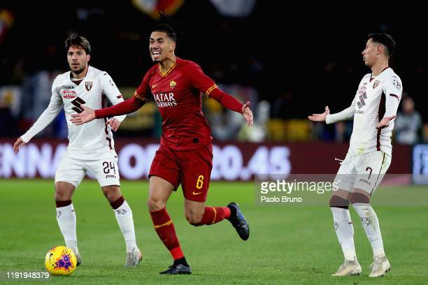 Chris Smalling of AS Roma reacts during the Serie A match between AS Roma and Torino FC at Stadio Olimpico on January 5 2020 in Rome Italy