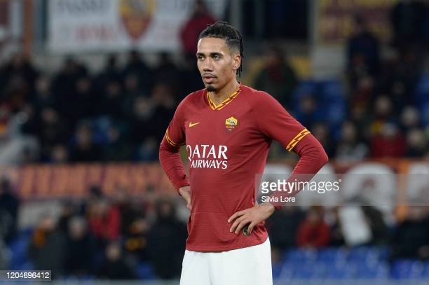 Chris Smalling of AS Roma reacts during the Serie A match between AS Roma and Bologna FC at Stadio Olimpico on February 07, 2020 in Rome, Italy.
