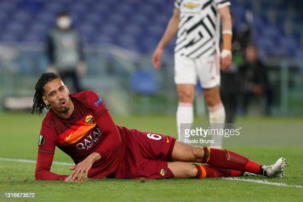 Chris Smalling of A.S Roma reacts during the UEFA Europa League Semi-final Second Leg match between AS Roma and Manchester United at Stadio Olimpico...