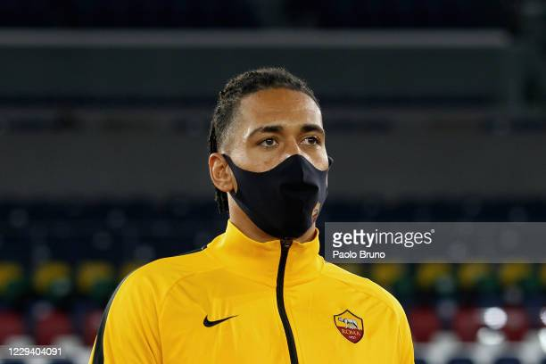 Chris Smalling of AS Roma wears the mask during the Serie A match between AS Roma and ACF Fiorentina at Stadio Olimpico on November 1, 2020 in Rome,...