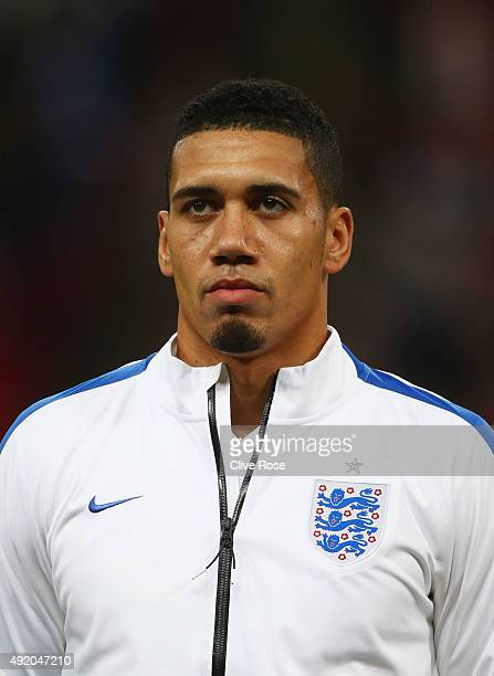 Chris Smalling of England looks on prior to the UEFA EURO 2016 Group E qualifying match between England and Estonia at Wembley on October 9 2015 in...