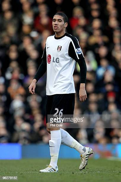 Chris Smalling of Fulham looks on during the Barclays Premier League match between Fulham and Aston Villa at Craven Cottage on January 30 2010 in...