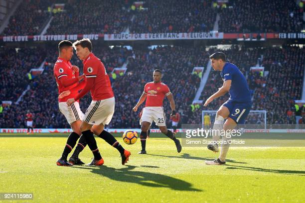 Chris Smalling of Man Utd and teammate Victor Lindelof of Man Utd block a shot from Alvaro Morata of Chelsea during the Premier League match between...