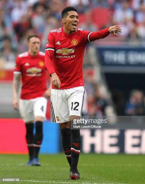 Chris Smalling of Man Utd during the FA Cup semi final between Manchester United and Tottenham Hotspur at Wembley Stadium on April 21 2018 in London...