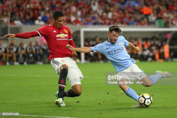 Chris Smalling of Manchester United and Patrick Roberts of Manchester City during the International Champions Cup 2017 match between Manchester...