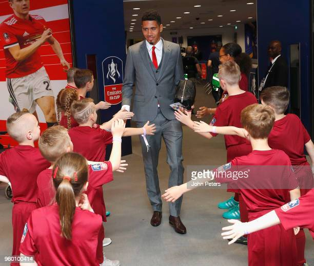 Chris Smalling of Manchester United arrives at Wembley ahead of the Emirates FA Cup Final match between Manchester United and Chelsea at Wembley...