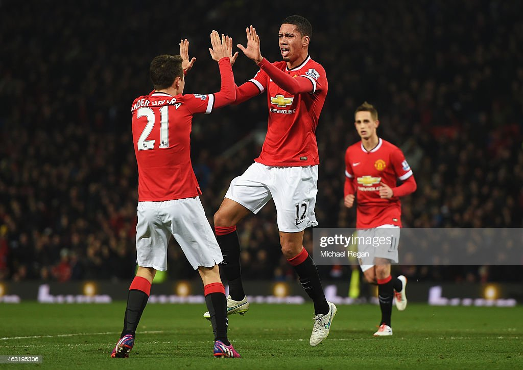 Chris Smalling of Manchester United celebrates scoring his second goal during the Barclays Premier League match between Manchester United and Burnley at Old Trafford on February 11, 2015 in Manchester, England.