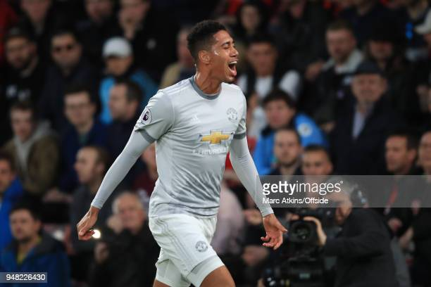 Chris Smalling of Manchester United celebrates scoring the opening goal during the Premier League match between AFC Bournemouth and Manchester United...