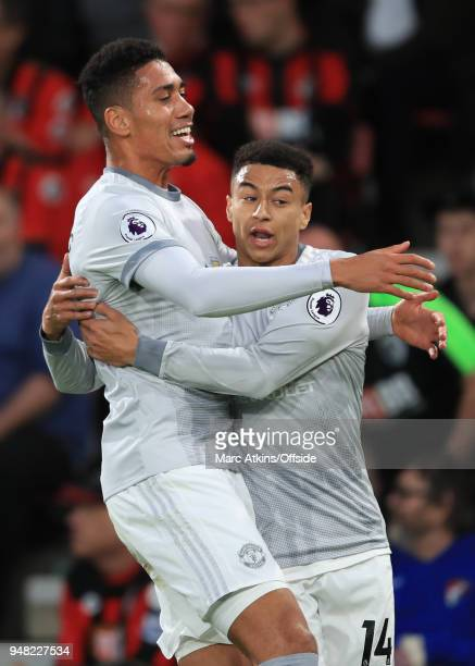 Chris Smalling of Manchester United celebrates scoring the opening goal with Jesse Lingard during the Premier League match between AFC Bournemouth...