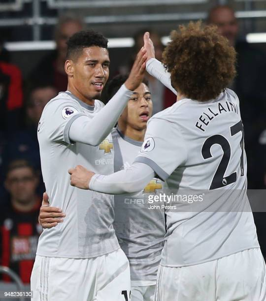 Chris Smalling of Manchester United celebrates scoring their first goal during the Premier League match between AFC Bournemouth and Manchester United...