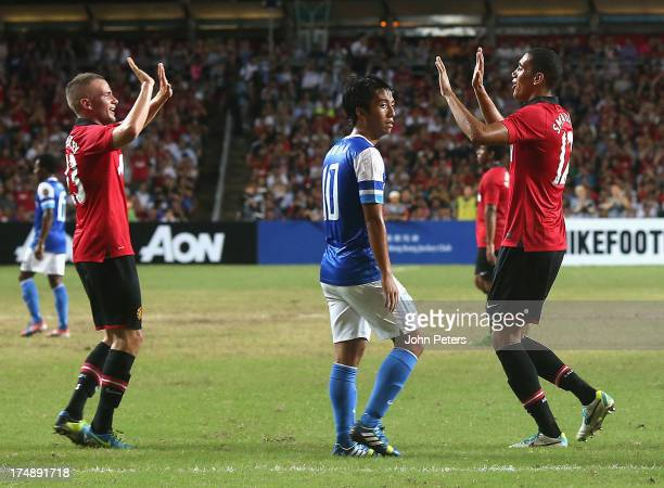 Chris Smalling of Manchester United celebrates scoring their second goal during the preseason friendly match between Kitchee FC and Manchester United...