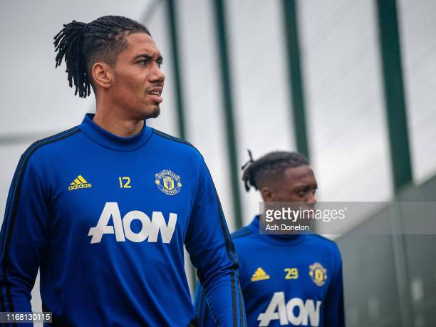 Chris Smalling of Manchester United in action during a first team training session at Aon Training Complex on August 14, 2019 in Manchester, England.