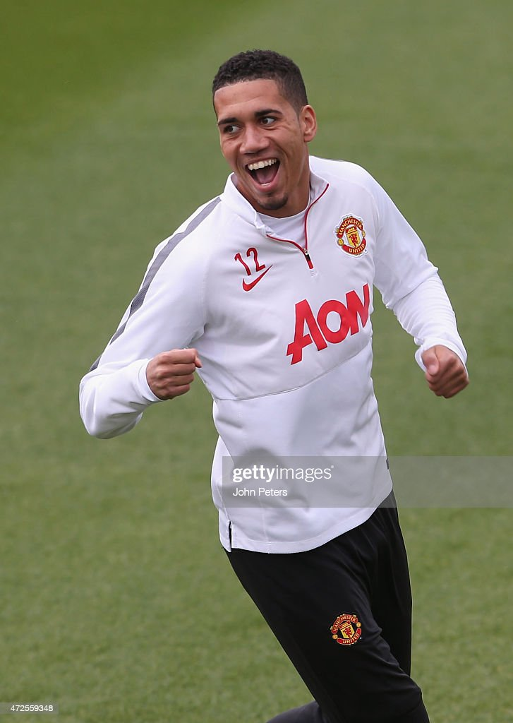 Chris Smalling of Manchester United in action during a first team training session at Aon Training Complex on May 8, 2015 in Manchester, England.