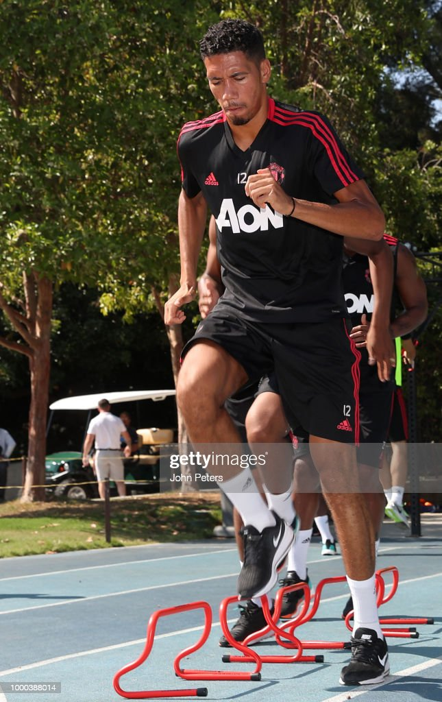 Chris Smalling of Manchester United in action during a Manchester United pre-season training session at UCLA on July 16, 2018 in Los Angeles, California.