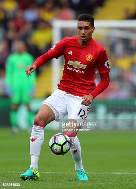 Chris Smalling of Manchester United in action during the Premier League match between Watford and Manchester United at Vicarage Road on September 18...