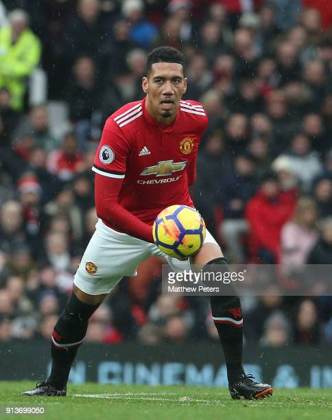 Chris Smalling of Manchester United in action during the Premier League match between Manchester United and Huddersfield Town at Old Trafford on...