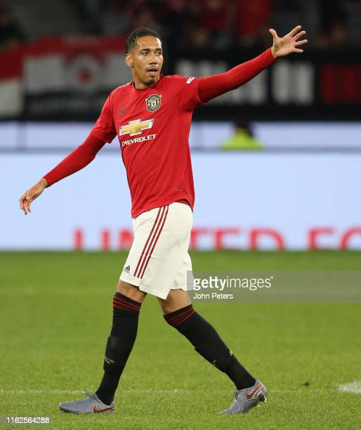 Chris Smalling of Manchester United in action during the pre-season friendly match between Manchester United and Leeds United at Optus Stadium on...