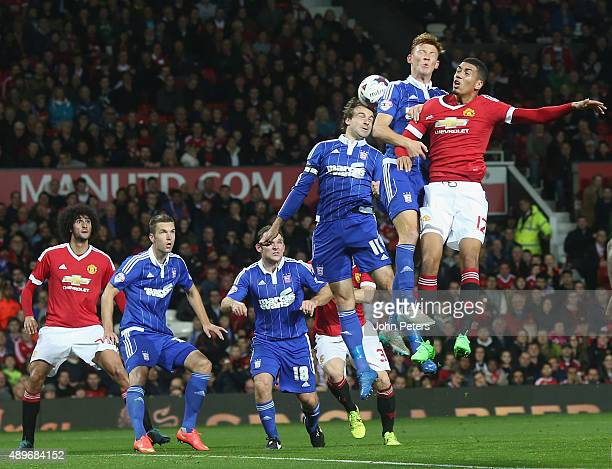 Chris Smalling of Manchester United in action with Josh Yorwerth of Ipswich Town during the Capital One Cup Third Round match between Manchester...