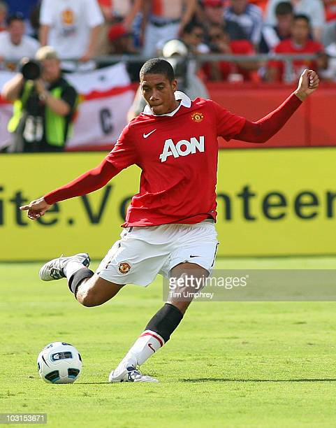 Chris Smalling of Manchester United kicks the ball during a friendly match against the Kansas City Wizards on July 25 2010 at Arrowhead Stadium in...