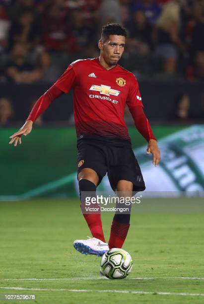 Chris Smalling of Manchester United passes the ball during the International Champions Cup 2018 match at StubHub Center on July 25 2018 in Carson...