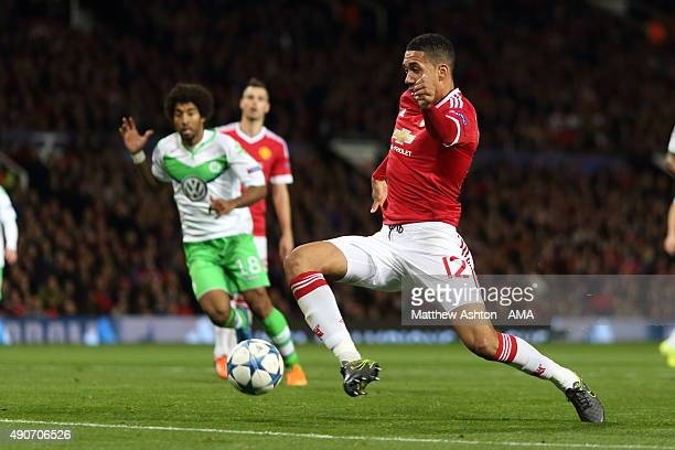 Chris Smalling of Manchester United scores a goal to make it 21 during the UEFA Champions League match between Manchester United and Wolfsburg at Old...