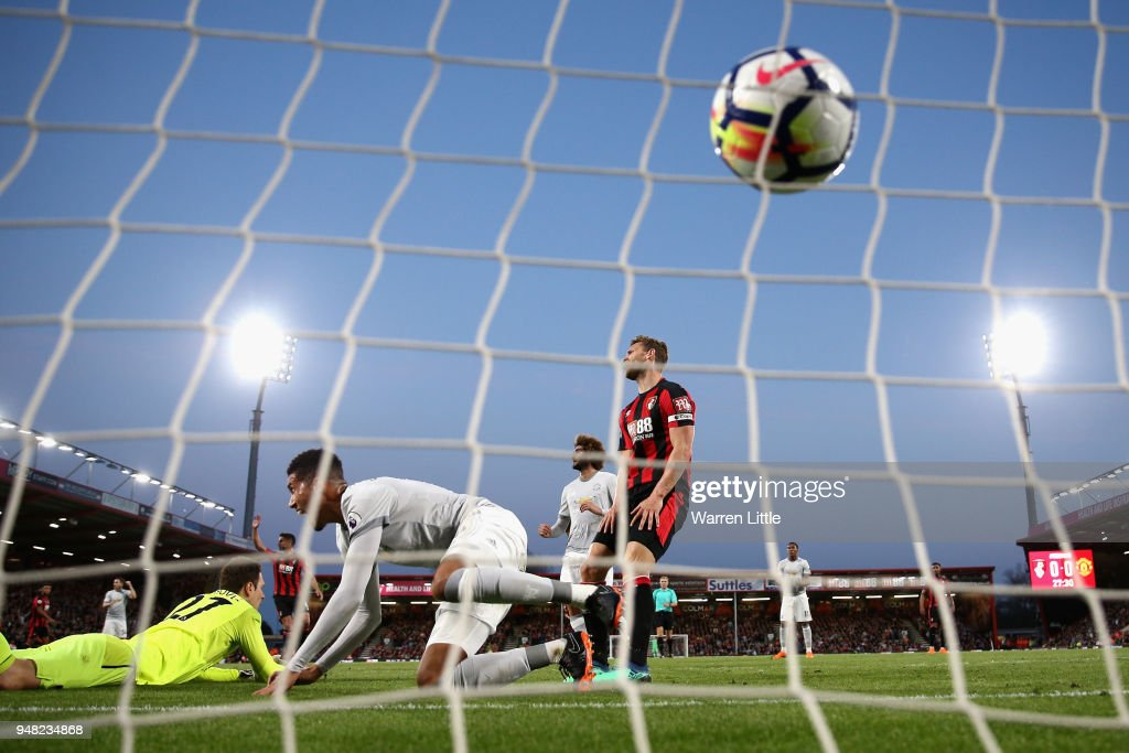 Chris Smalling of Manchester United scores his sides first goal past Asmir Begovic of AFC Bournemouth during the Premier League match between AFC Bournemouth and Manchester United at Vitality Stadium on April 18, 2018 in Bournemouth, England.