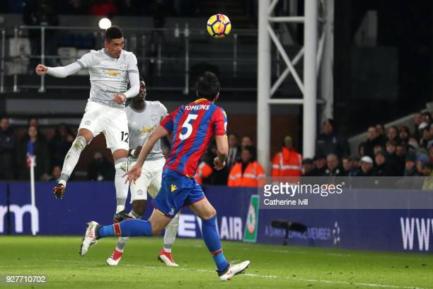 Chris Smalling of Manchester United scores the first Manchester United goal during the Premier League match between Crystal Palace and Manchester...