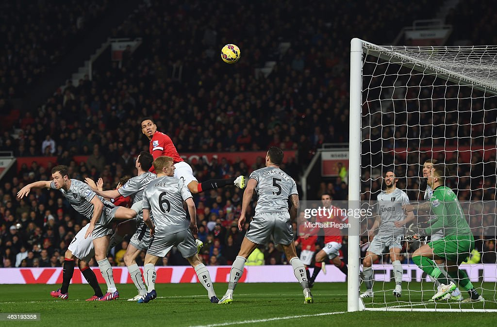 Chris Smalling of Manchester United scores the opening goal during the Barclays Premier League match between Manchester United and Burnley at Old Trafford on February 11, 2015 in Manchester, England.