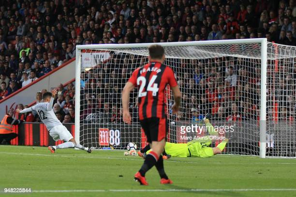 Chris Smalling of Manchester United scores the opening goal during the Premier League match between AFC Bournemouth and Manchester United at Vitality...