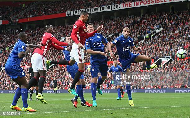 Chris Smalling of Manchester United scores their first goal during the Premier League match between Manchester United and Leicester City at Old...
