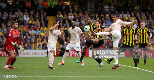 Chris Smalling of Manchester United scores their second goal during the Premier League match between Watford FC and Manchester United at Vicarage...