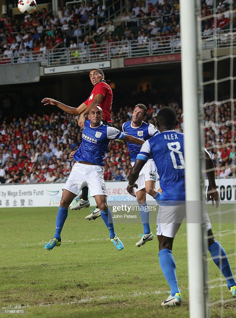 Chris Smalling of Manchester United scores their second goal during the pre-season friendly match between Kitchee FC and Manchester United as part of their pre-season tour of Bangkok, Australia, Japan and Hong Kong at Hong Kong Stadium on July 29, 2013 in So Kon Po, Hong Kong.