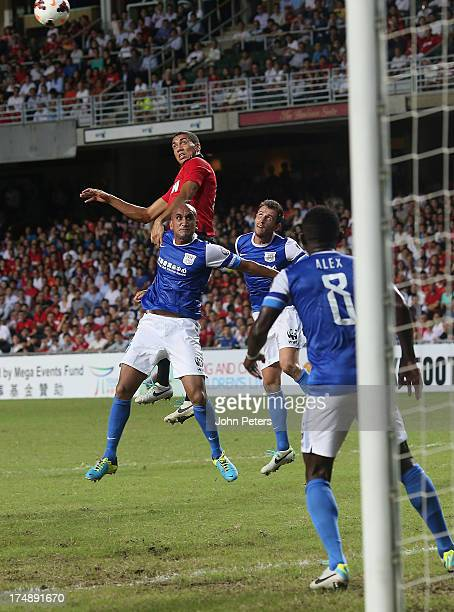 Chris Smalling of Manchester United scores their second goal during the preseason friendly match between Kitchee FC and Manchester United as part of...