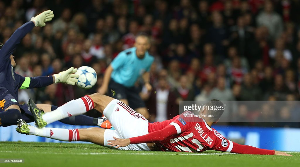 Chris Smalling of Manchester United scores their second goal goal during the UEFA Champions League Group C match between Manchester United and VfL Wolfsburg at Old Trafford on September 30, 2015 in Manchester, United Kingdom.