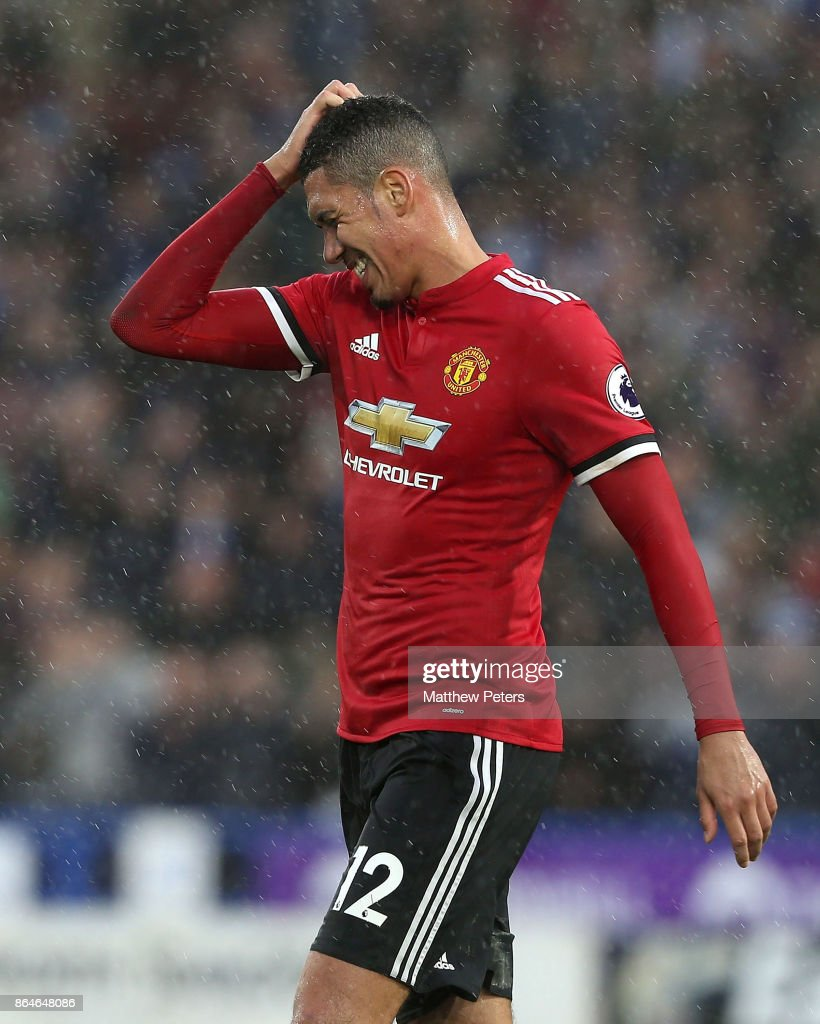 Chris Smalling of Manchester United shows his disappointment after the Premier League match between Huddersfield Town and Manchester United at John Smith's Stadium on October 21, 2017 in Huddersfield, England.